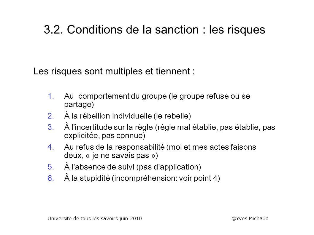 3.2. Conditions de la sanction : les risques Les risques sont multiples et tiennent : 1.Au comportement du groupe (le groupe refuse ou se partage) 2.À