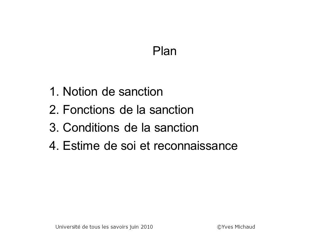 Plan 1. Notion de sanction 2. Fonctions de la sanction 3. Conditions de la sanction 4. Estime de soi et reconnaissance Université de tous les savoirs