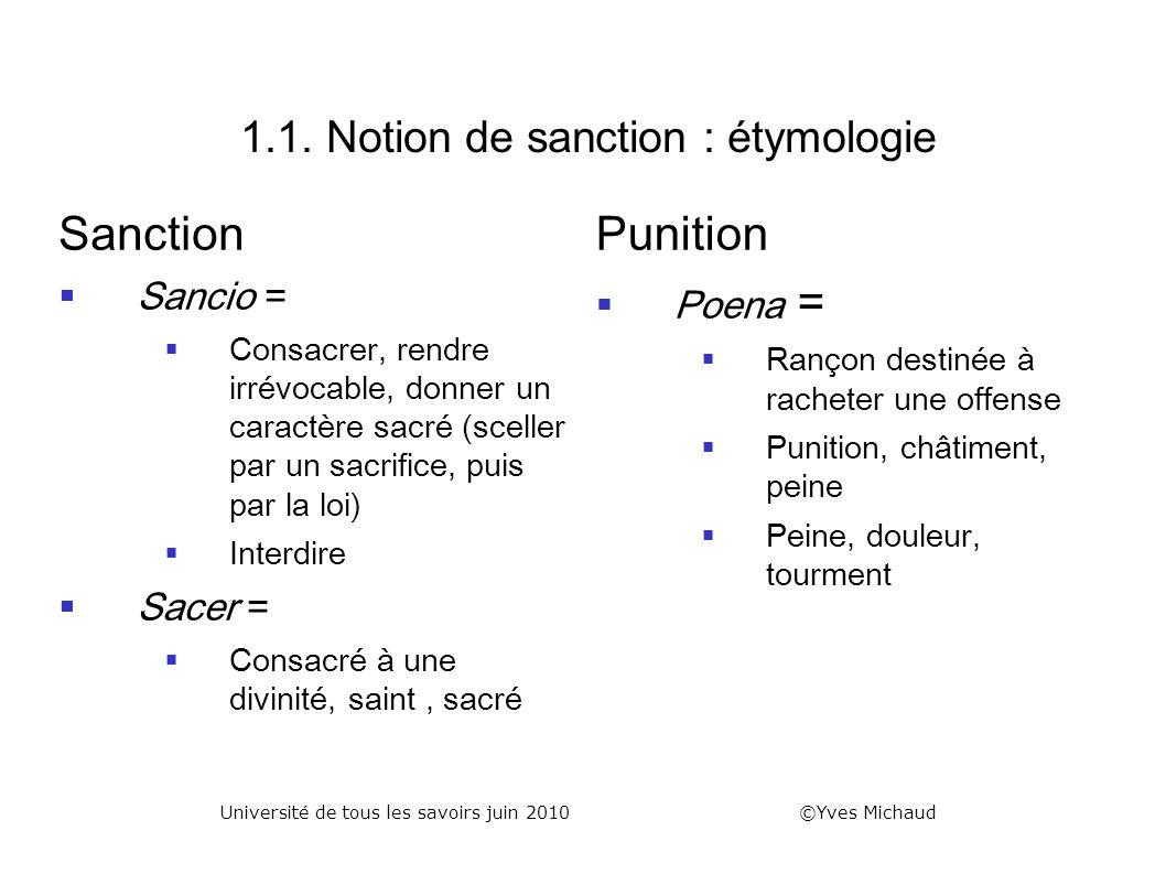 1.1. Notion de sanction : étymologie Sanction Sancio = Consacrer, rendre irrévocable, donner un caractère sacré (sceller par un sacrifice, puis par la