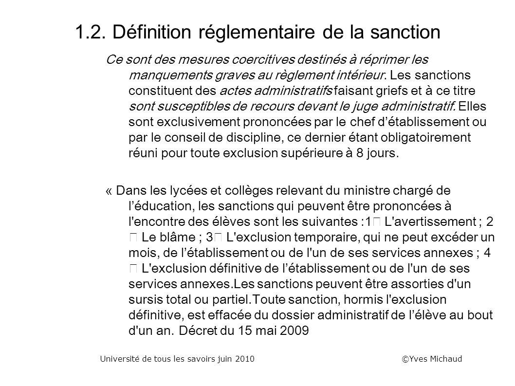 1.2. Définition réglementaire de la sanction Ce sont des mesures coercitives destinés à réprimer les manquements graves au règlement intérieur. Les sa