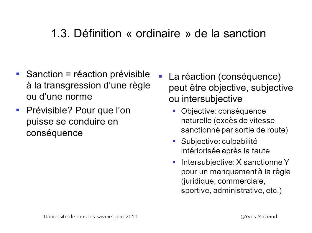 1.3. Définition « ordinaire » de la sanction Sanction = réaction prévisible à la transgression dune règle ou dune norme Prévisible? Pour que lon puiss