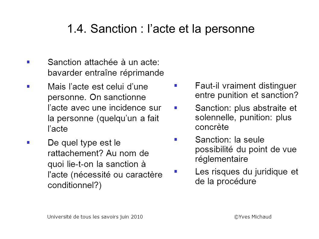 1.4. Sanction : lacte et la personne Sanction attachée à un acte: bavarder entraîne réprimande Mais lacte est celui dune personne. On sanctionne lacte