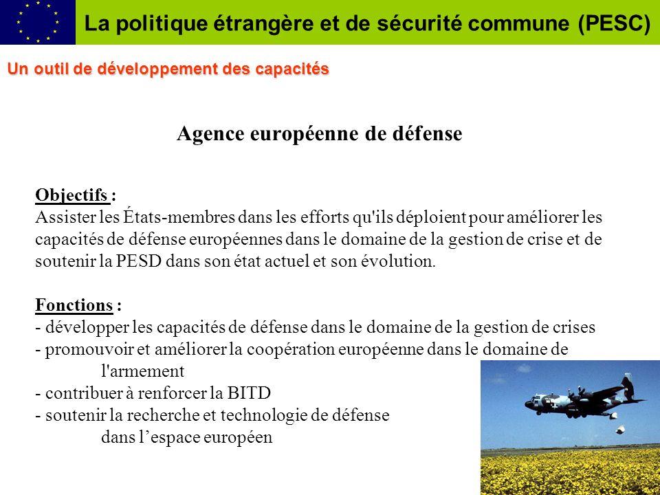 Agence européenne de défense Objectifs : Assister les États-membres dans les efforts qu'ils déploient pour améliorer les capacités de défense européen