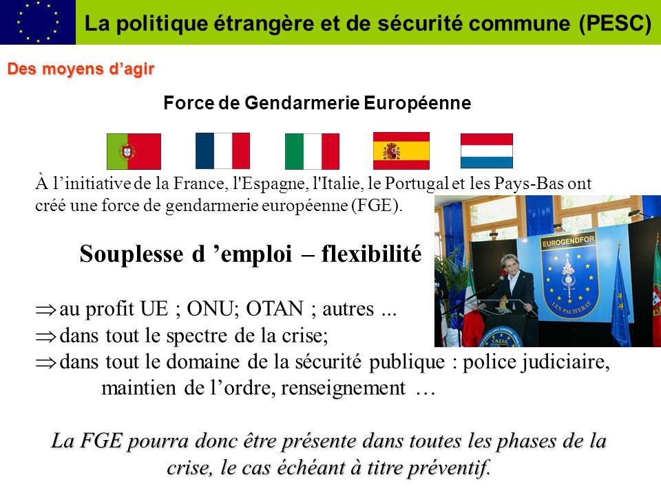 Force de Gendarmerie Européenne À linitiative de la France, l Espagne, l Italie, le Portugal et les Pays-Bas ont créé une force de gendarmerie européenne (FGE).