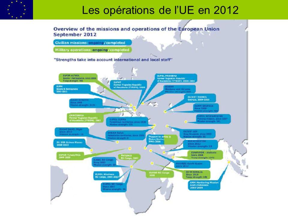 Les opérations de lUE en 2012