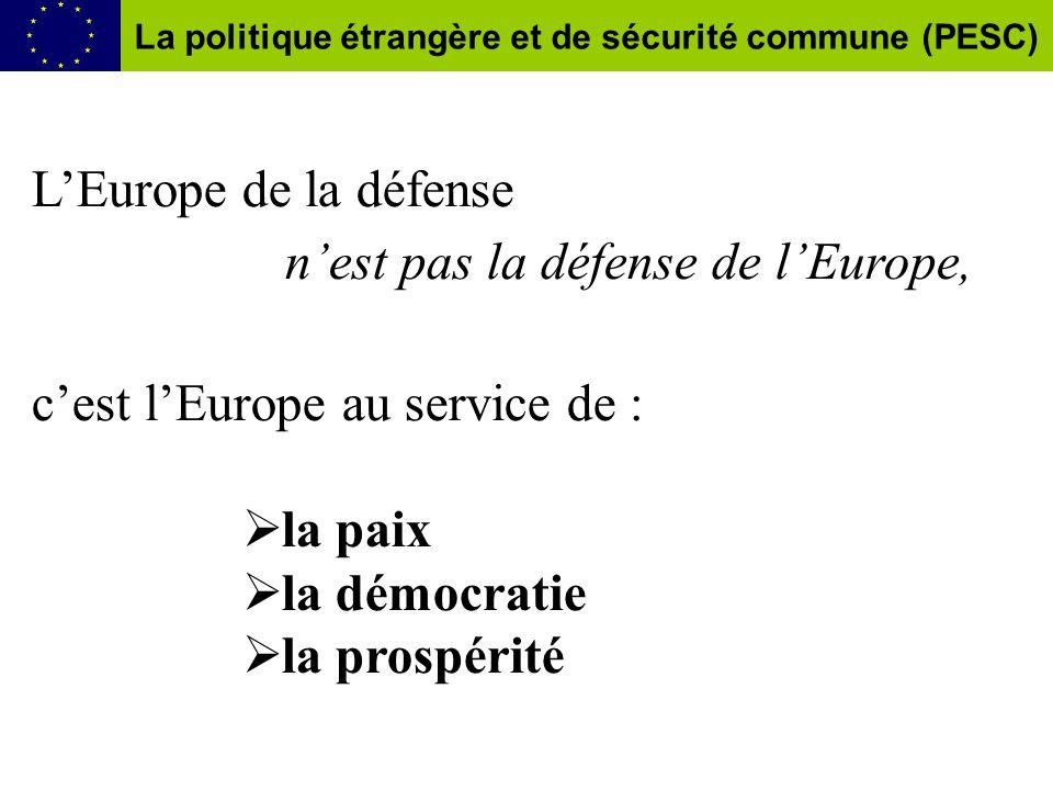 LEurope de la défense nest pas la défense de lEurope, cest lEurope au service de : la paix la démocratie la prospérité La politique étrangère et de sécurité commune (PESC)