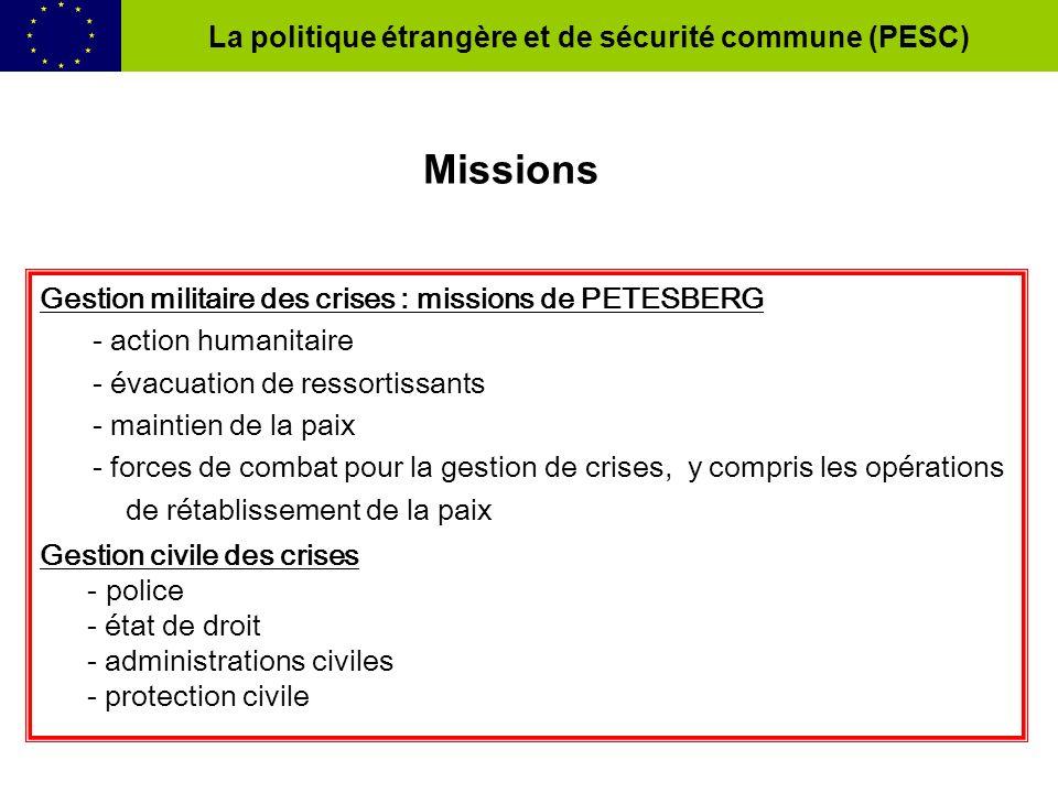 Gestion militaire des crises : missions de PETESBERG - action humanitaire - évacuation de ressortissants - maintien de la paix - forces de combat pour