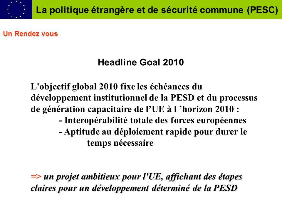 Headline Goal 2010 L'objectif global 2010 fixe les échéances du développement institutionnel de la PESD et du processus de génération capacitaire de l