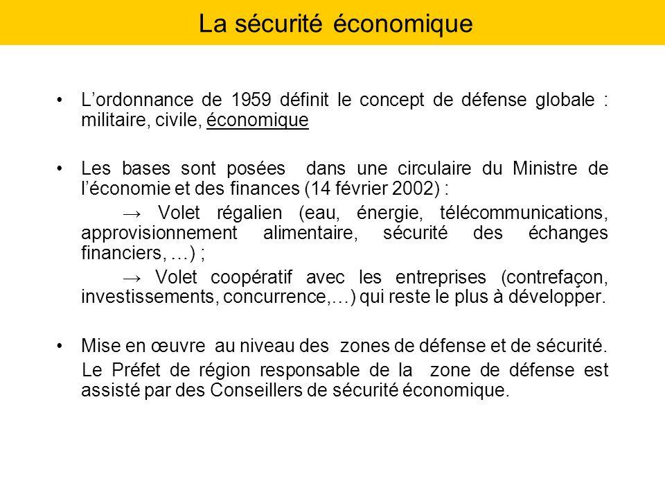 La sécurité économique Lordonnance de 1959 définit le concept de défense globale : militaire, civile, économique Les bases sont posées dans une circul