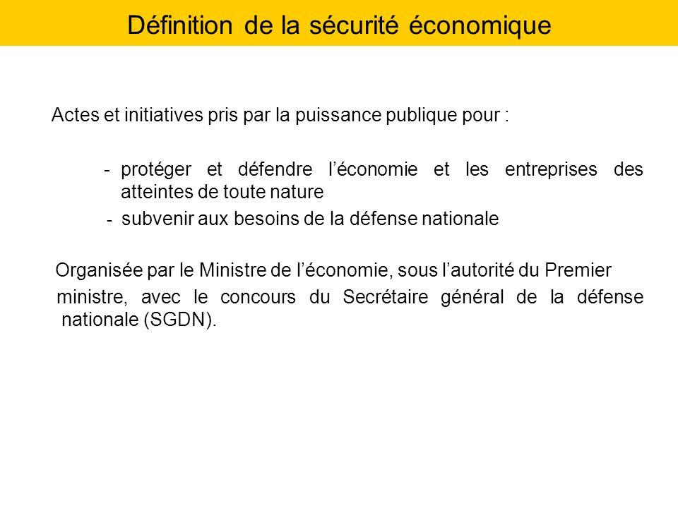 Définition de la sécurité économique Actes et initiatives pris par la puissance publique pour : -protéger et défendre léconomie et les entreprises des
