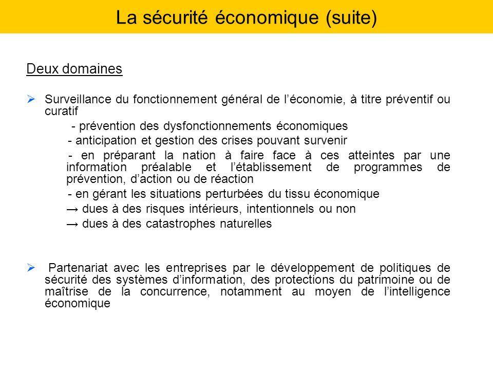 La sécurité économique (suite) Deux domaines Surveillance du fonctionnement général de léconomie, à titre préventif ou curatif - prévention des dysfon