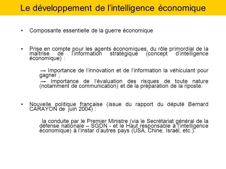 Le développement de lintelligence économique Composante essentielle de la guerre économique Prise en compte pour les agents économiques, du rôle primo