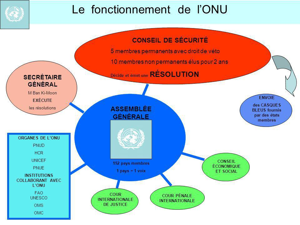 ORGANES DE LONU PNUD HCR UNICEF PNUE INSTITUTIONS COLLABORANT AVEC LONU FAO UNESCO OMS OMC CONSEIL DE SÉCURITÉ 5 membres permanents avec droit de véto
