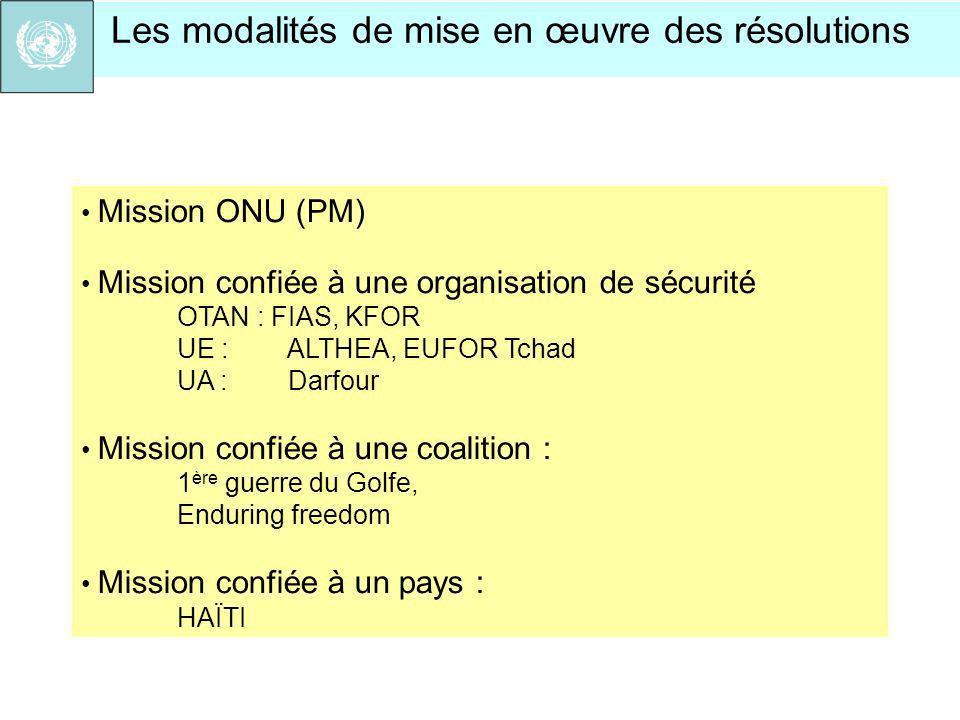 Mission ONU (PM) Mission confiée à une organisation de sécurité OTAN : FIAS, KFOR UE : ALTHEA, EUFOR Tchad UA : Darfour Mission confiée à une coalitio