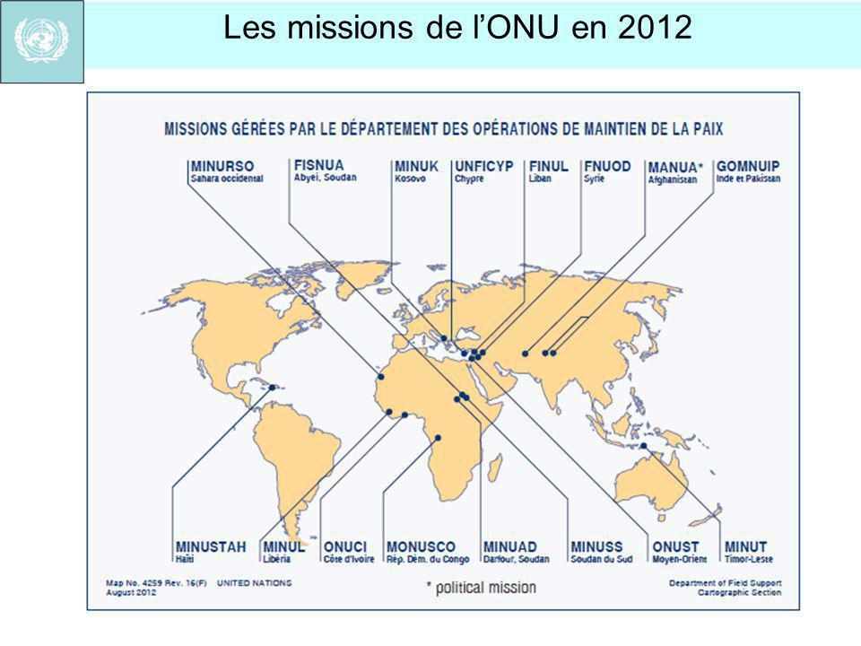 Les missions de lONU en 2012