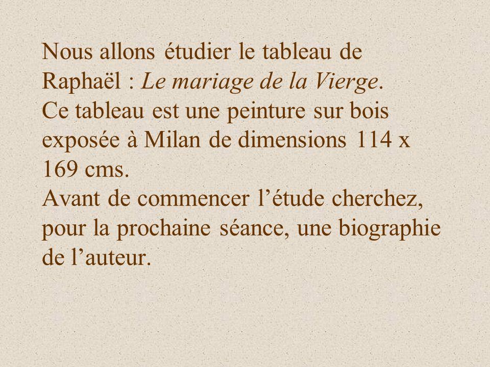 Nous allons étudier le tableau de Raphaël : Le mariage de la Vierge. Ce tableau est une peinture sur bois exposée à Milan de dimensions 114 x 169 cms.