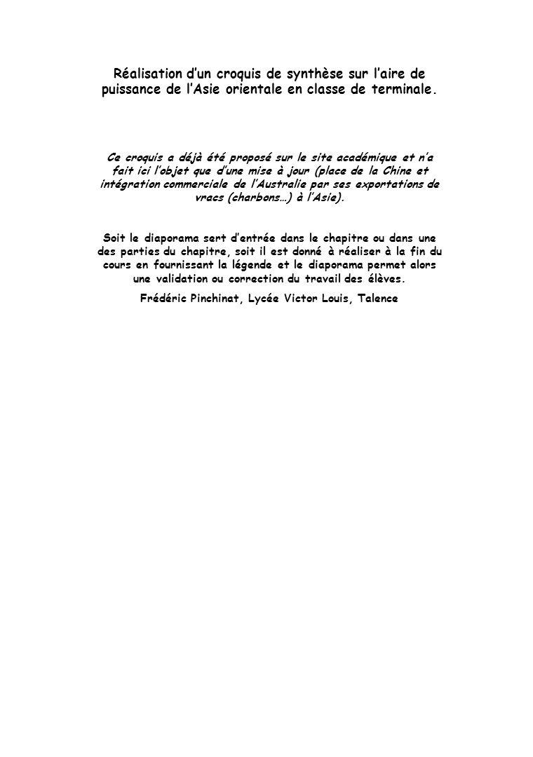 Réalisation dun croquis de synthèse sur laire de puissance de lAsie orientale en classe de terminale. Ce croquis a déjà été proposé sur le site académ