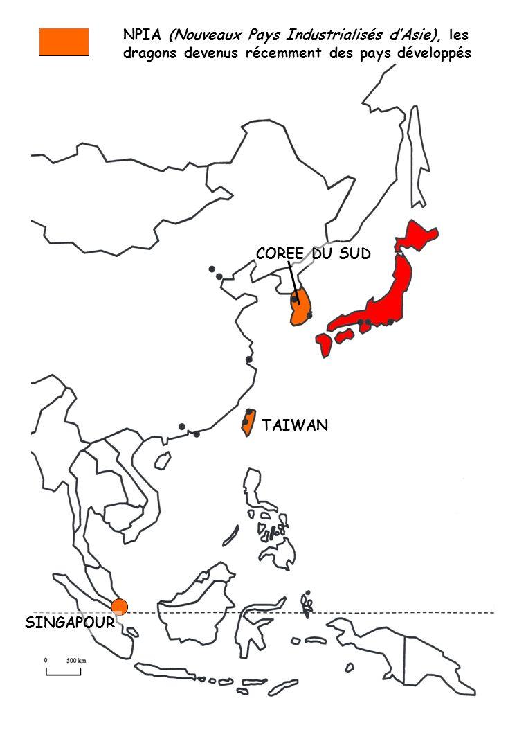 NPIA (Nouveaux Pays Industrialisés dAsie), les dragons devenus récemment des pays développés COREE DU SUD TAIWAN SINGAPOUR