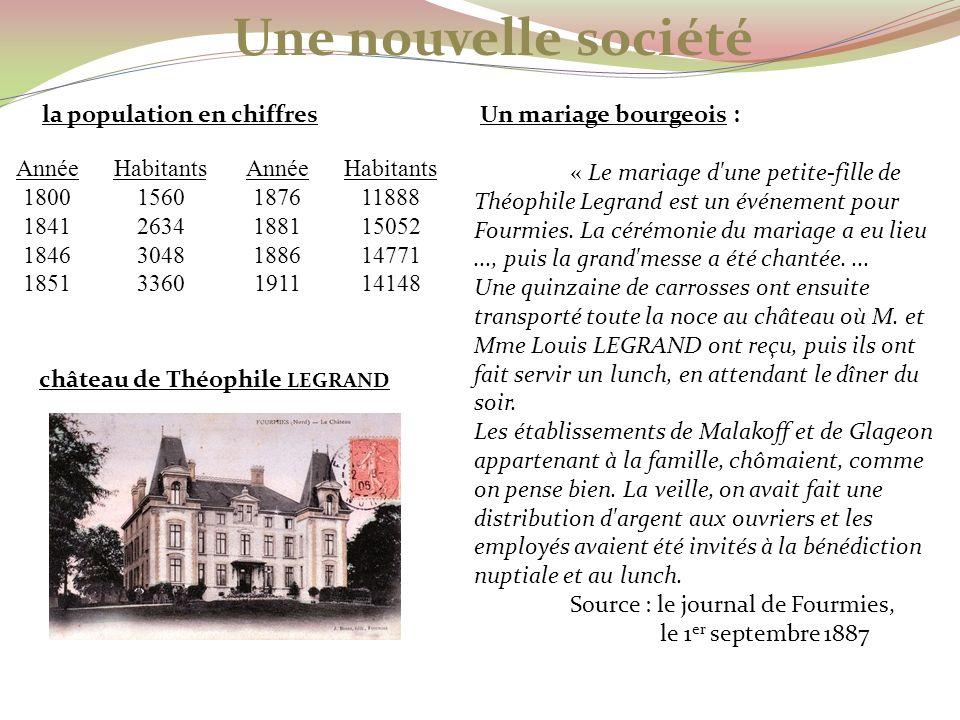 Un mariage bourgeois : « Le mariage d'une petite-fille de Théophile Legrand est un événement pour Fourmies. La cérémonie du mariage a eu lieu..., puis