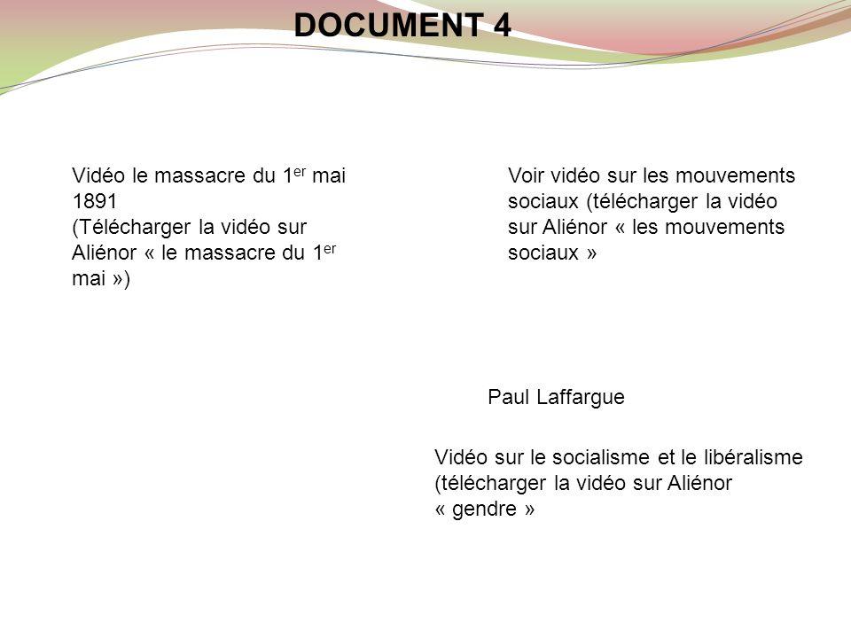 Mouvements sociaux Socialisme et libéralisme DOCUMENT 4 Paul Laffargue Vidéo le massacre du 1 er mai 1891 (Télécharger la vidéo sur Aliénor « le massa
