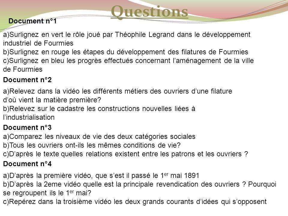 Questions Document n°1 a)Surlignez en vert le rôle joué par Théophile Legrand dans le développement industriel de Fourmies b)Surlignez en rouge les ét