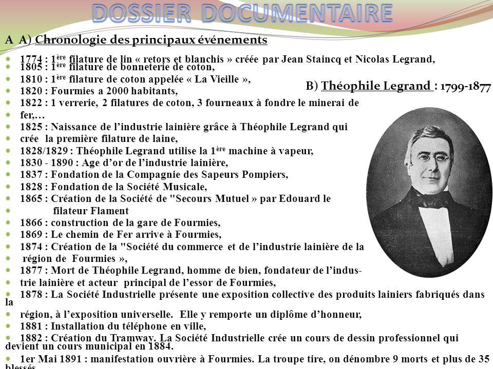 A A) Chronologie des principaux événements 1774 : 1 ère filature de lin « retors et blanchis » créée par Jean Staincq et Nicolas Legrand, 1805 : 1 ère