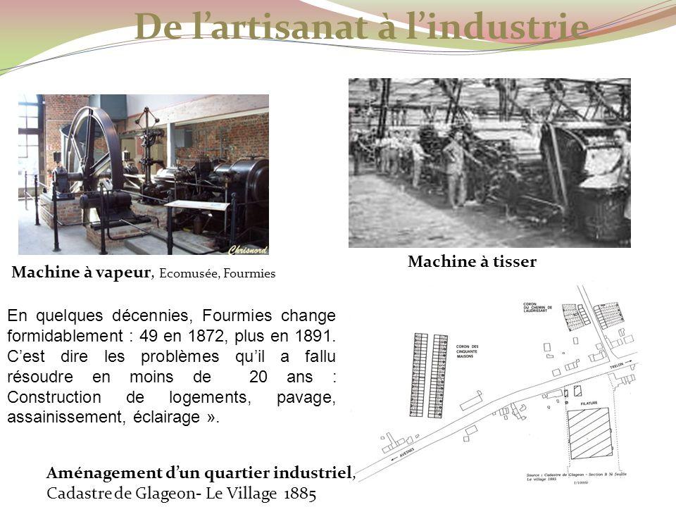 Machine à vapeur, Ecomusée, Fourmies Machine à tisser Aménagement dun quartier industriel, Cadastre de Glageon- Le Village 1885 De lartisanat à lindus