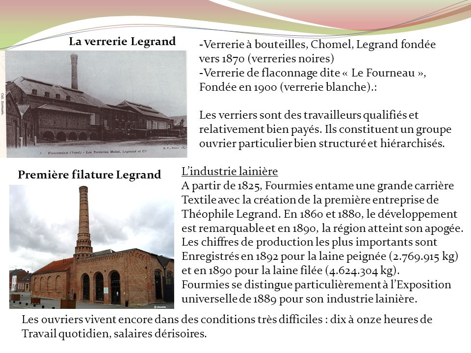 -Verrerie à bouteilles, Chomel, Legrand fondée vers 1870 (verreries noires) -Verrerie de flaconnage dite « Le Fourneau », Fondée en 1900 (verrerie bla