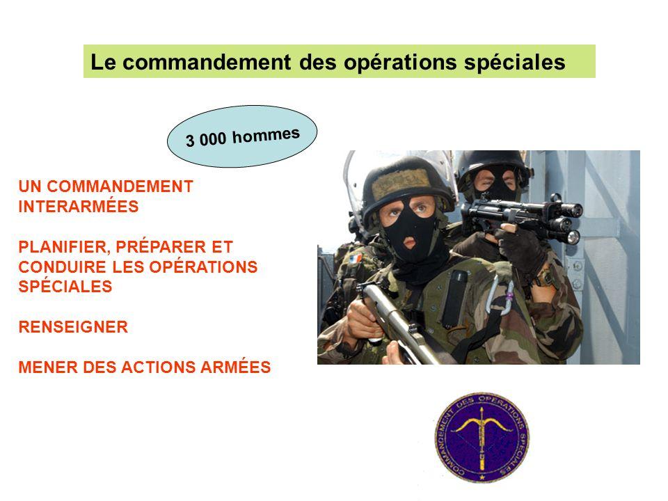 UN COMMANDEMENT INTERARMÉES PLANIFIER, PRÉPARER ET CONDUIRE LES OPÉRATIONS SPÉCIALES RENSEIGNER MENER DES ACTIONS ARMÉES Le commandement des opération