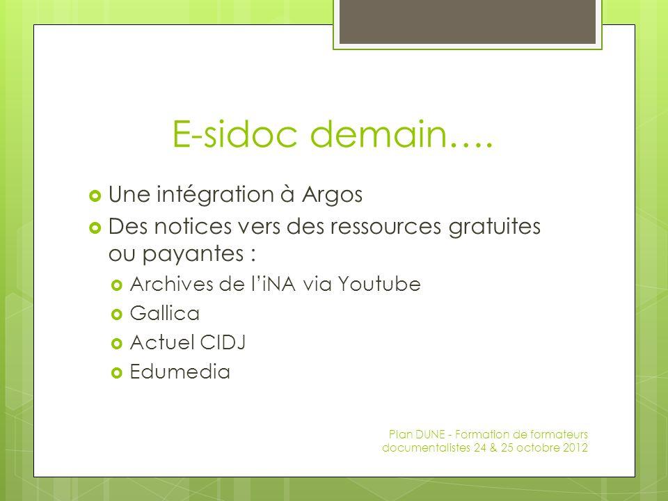 E-sidoc demain…. Une intégration à Argos Des notices vers des ressources gratuites ou payantes : Archives de liNA via Youtube Gallica Actuel CIDJ Edum