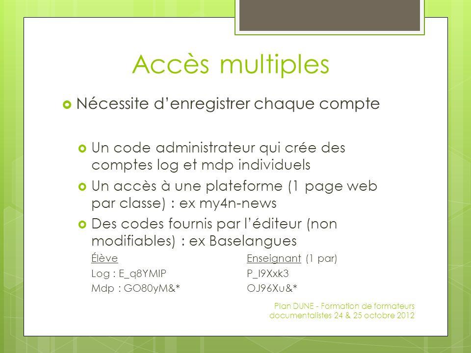 Accès multiples Nécessite denregistrer chaque compte Un code administrateur qui crée des comptes log et mdp individuels Un accès à une plateforme (1 page web par classe) : ex my4n-news Des codes fournis par léditeur (non modifiables) : ex Baselangues ÉlèveEnseignant (1 par) Log : E_q8YMIPP_I9Xxk3 Mdp : GO80yM&*OJ96Xu&* Plan DUNE - Formation de formateurs documentalistes 24 & 25 octobre 2012