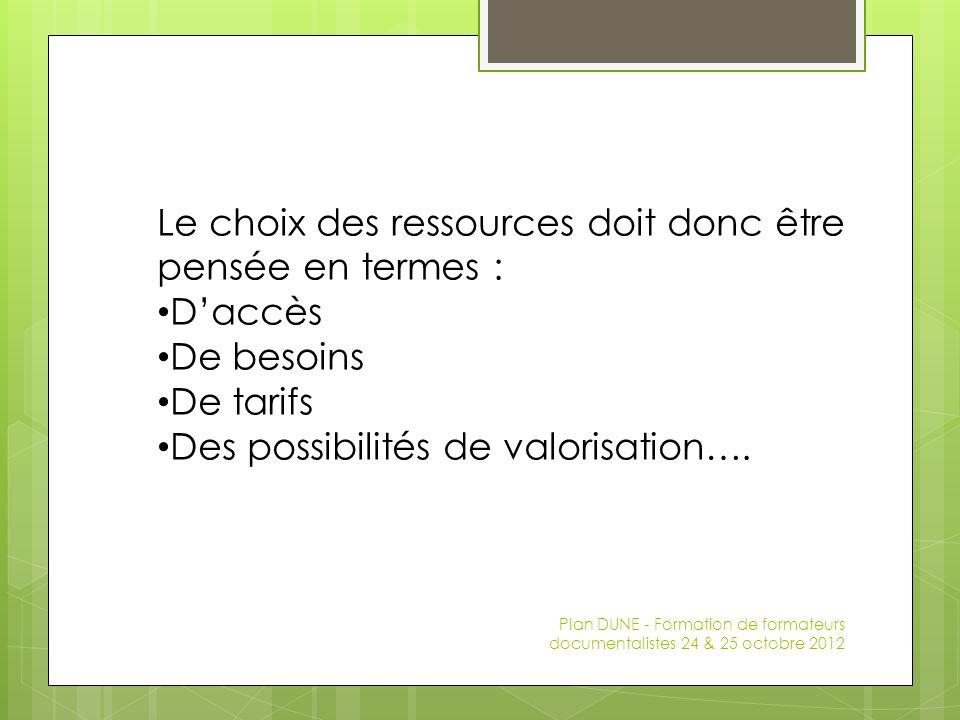 Le choix des ressources doit donc être pensée en termes : Daccès De besoins De tarifs Des possibilités de valorisation….
