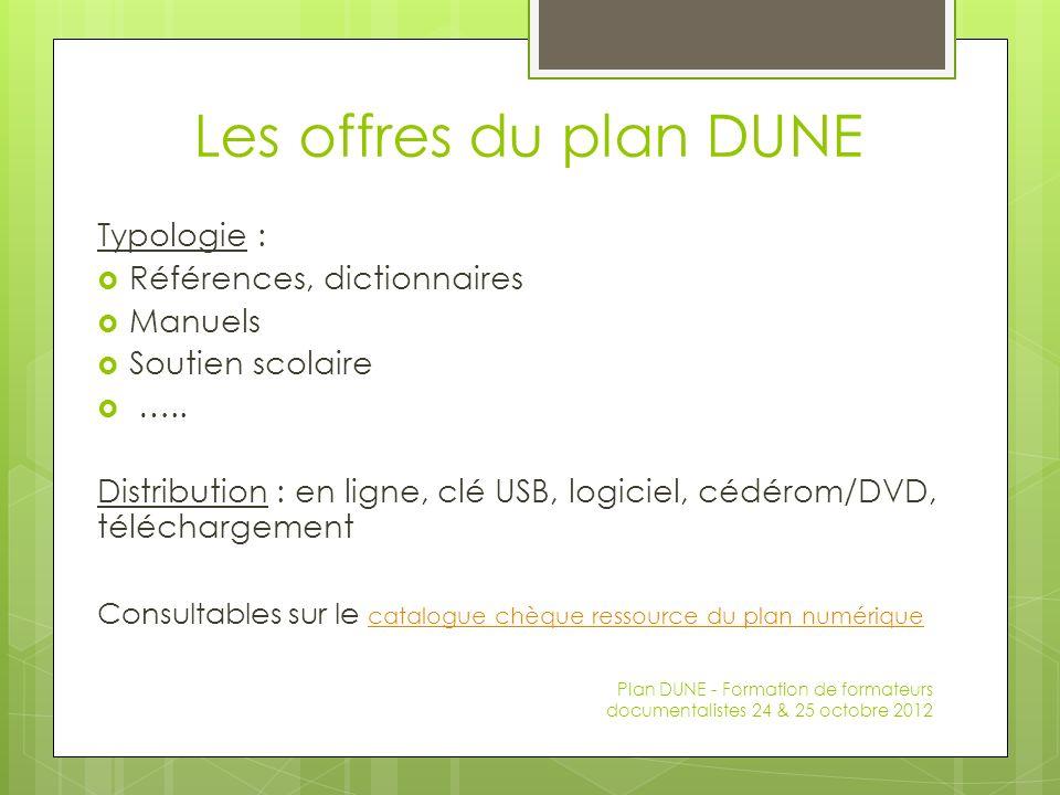 Les offres du plan DUNE Typologie : Références, dictionnaires Manuels Soutien scolaire ….. Distribution : en ligne, clé USB, logiciel, cédérom/DVD, té