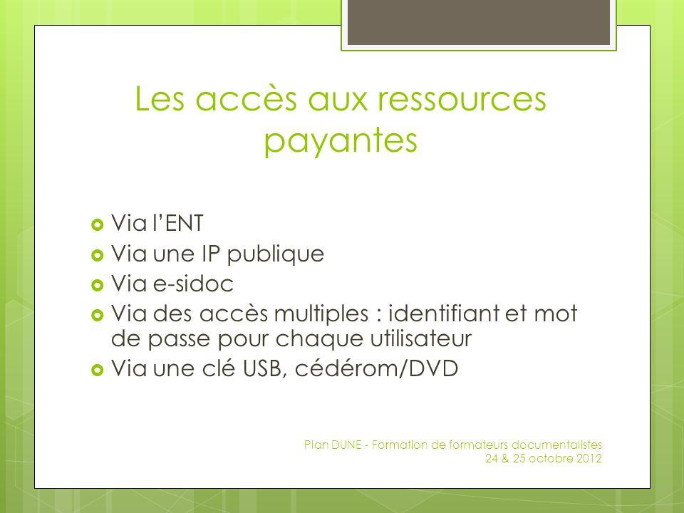 Les accès aux ressources payantes Via lENT Via une IP publique Via e-sidoc Via des accès multiples : identifiant et mot de passe pour chaque utilisate
