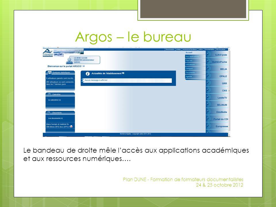 Argos – le bureau Plan DUNE - Formation de formateurs documentalistes 24 & 25 octobre 2012 Le bandeau de droite mêle laccès aux applications académiqu