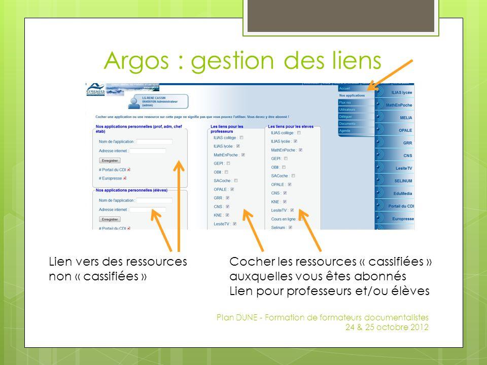 Argos : gestion des liens Plan DUNE - Formation de formateurs documentalistes 24 & 25 octobre 2012 Cocher les ressources « cassifiées » auxquelles vou