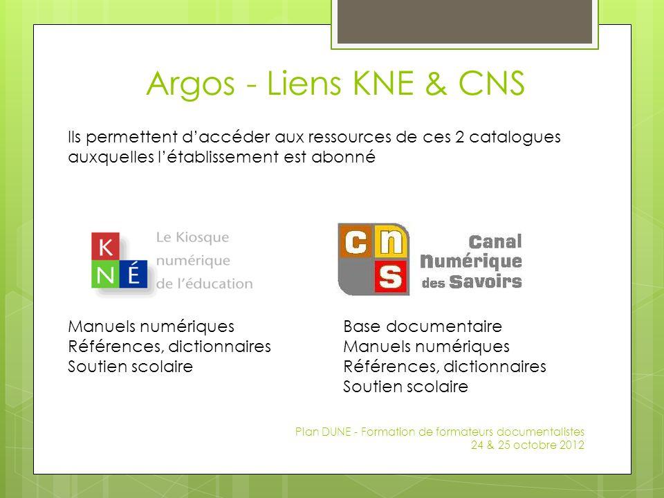 Argos - Liens KNE & CNS Plan DUNE - Formation de formateurs documentalistes 24 & 25 octobre 2012 Manuels numériques Références, dictionnaires Soutien
