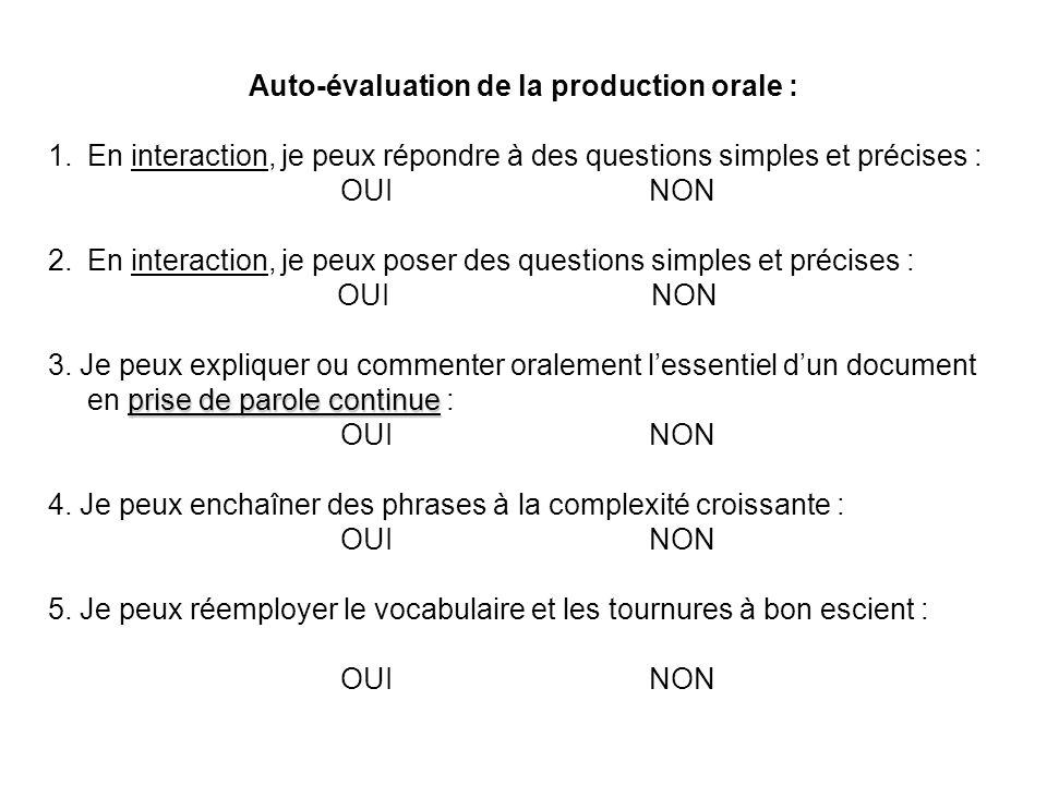 Auto-évaluation de la production orale : 1.En interaction, je peux répondre à des questions simples et précises : OUI NON 2.En interaction, je peux po
