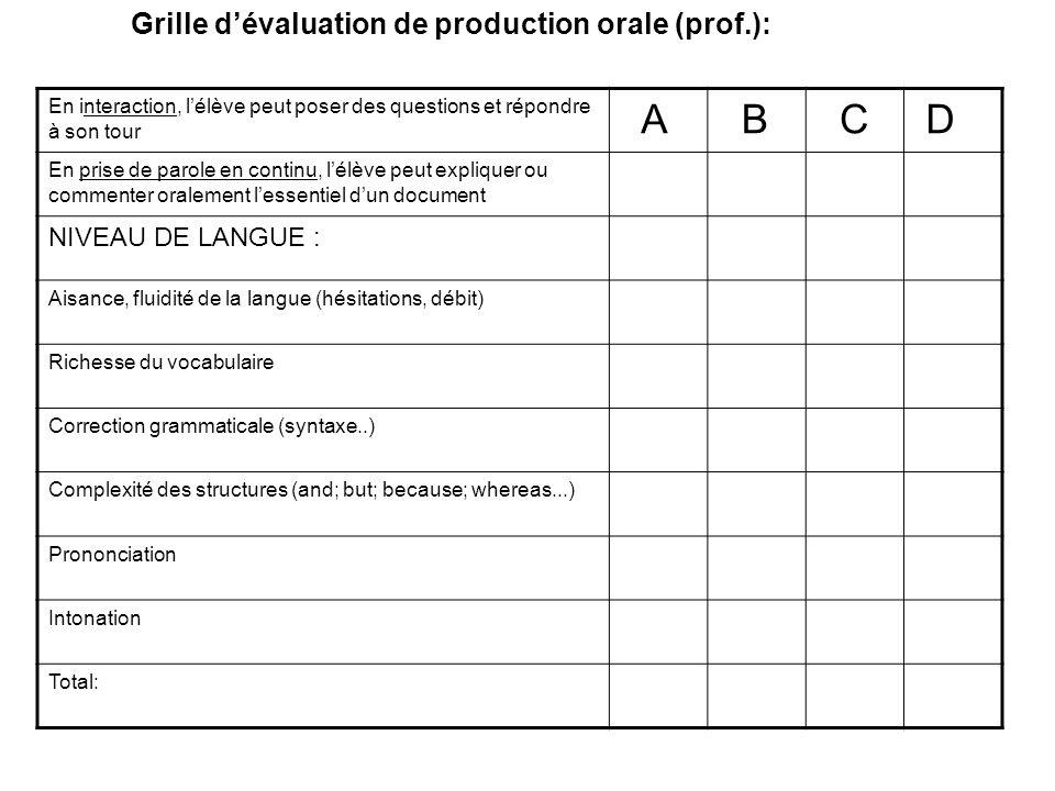 Grille dévaluation de production orale (prof.): En interaction, lélève peut poser des questions et répondre à son tour A B C D En prise de parole en c