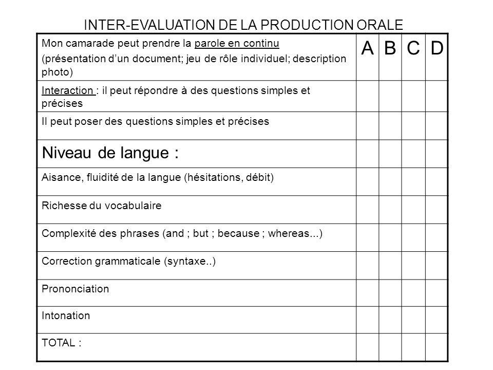 Mon camarade peut prendre la parole en continu (présentation dun document; jeu de rôle individuel; description photo) ABCD Interaction : il peut répon