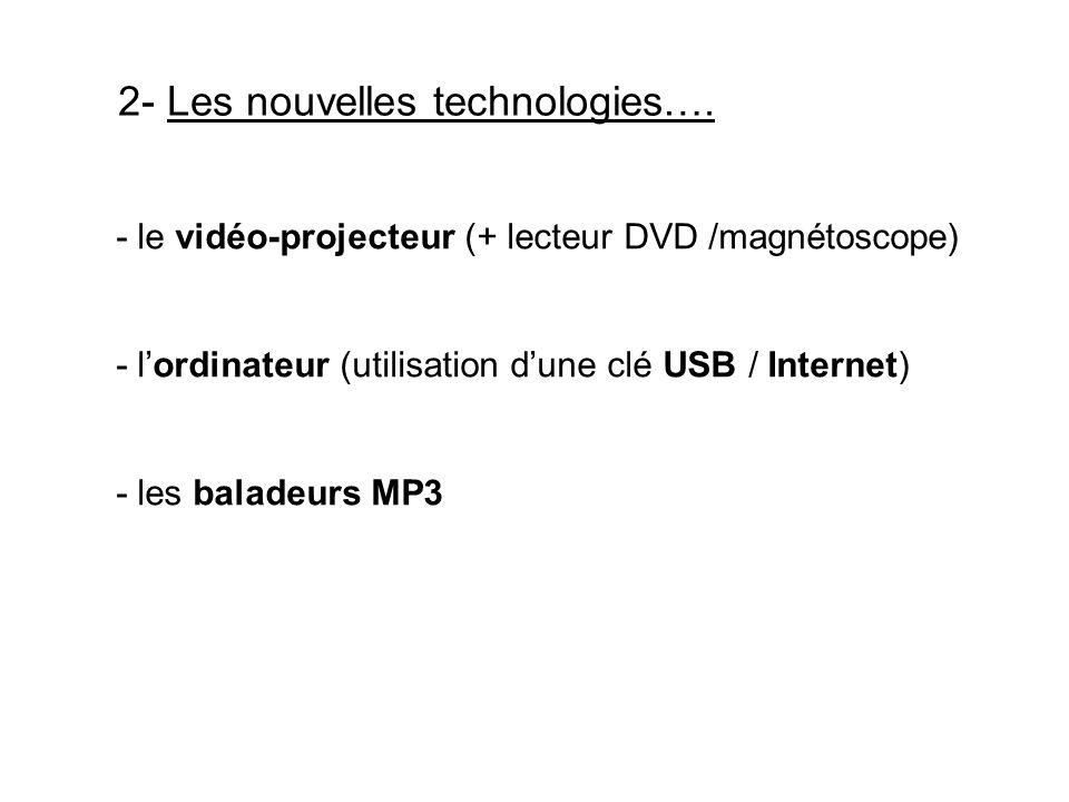 2- Les nouvelles technologies…. - le vidéo-projecteur (+ lecteur DVD /magnétoscope) - lordinateur (utilisation dune clé USB / Internet) - les baladeur