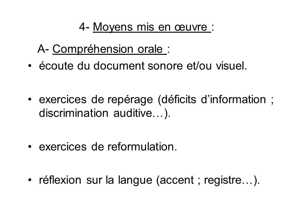 4- Moyens mis en œuvre : A- Compréhension orale : écoute du document sonore et/ou visuel. exercices de repérage (déficits dinformation ; discriminatio