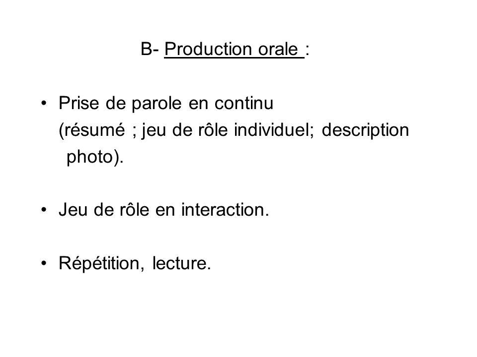 B- Production orale : Prise de parole en continu (résumé ; jeu de rôle individuel; description photo). Jeu de rôle en interaction. Répétition, lecture