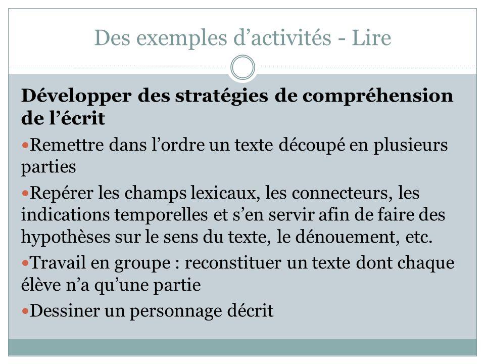 Des exemples dactivités - Lire Développer des stratégies de compréhension de lécrit Remettre dans lordre un texte découpé en plusieurs parties Repérer