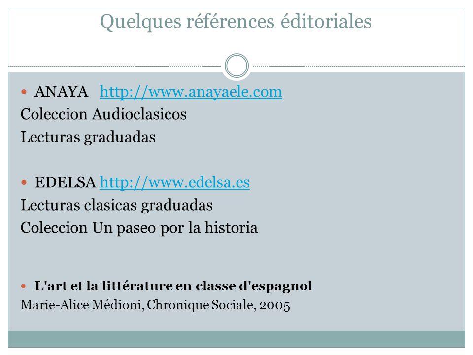 Quelques références éditoriales ANAYA http://www.anayaele.comhttp://www.anayaele.com Coleccion Audioclasicos Lecturas graduadas EDELSA http://www.edel