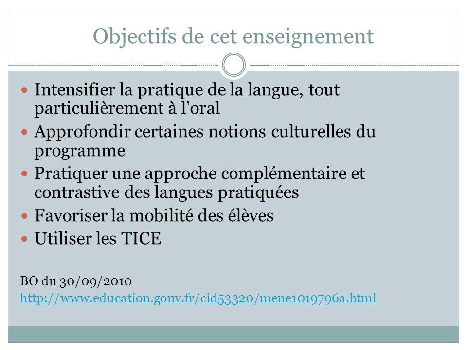 Objectifs de cet enseignement Intensifier la pratique de la langue, tout particulièrement à loral Approfondir certaines notions culturelles du program