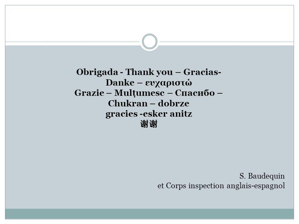 Obrigada - Thank you – Gracias- Danke – ευχαριστώ Grazie – Mulţumesc – Спасибо – Chukran – dobrze gracies -esker anitz S. Baudequin et Corps inspectio