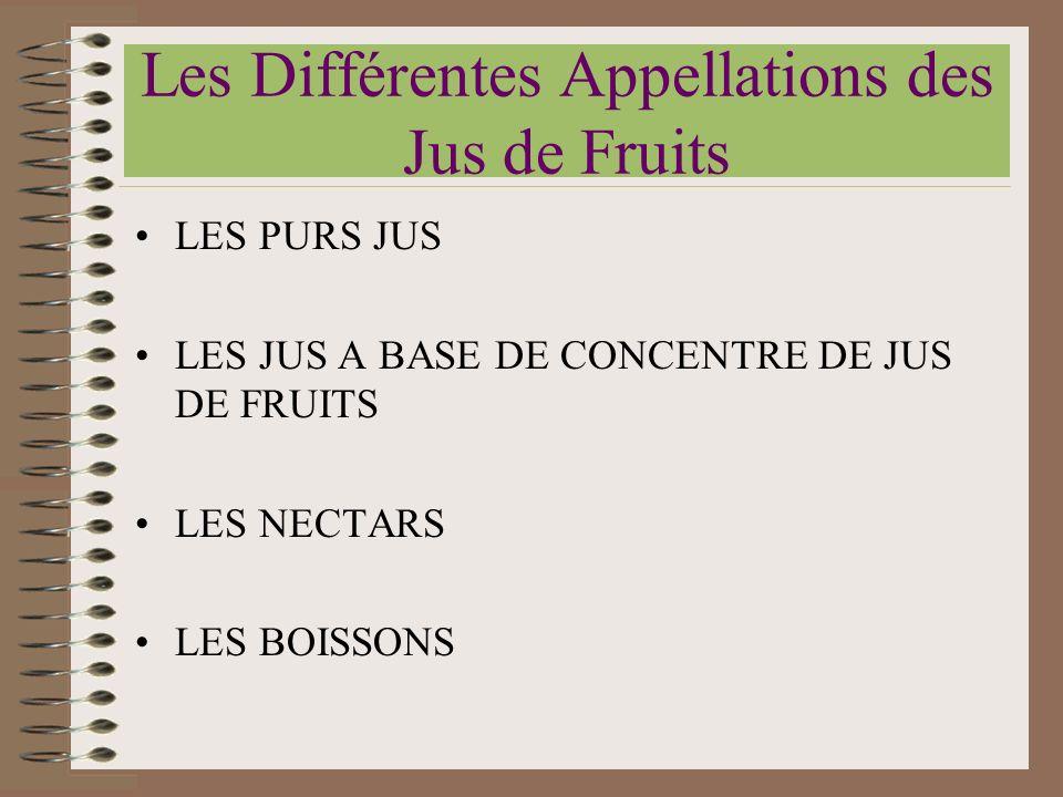 Les Différentes Appellations des Jus de Fruits LES PURS JUS LES JUS A BASE DE CONCENTRE DE JUS DE FRUITS LES NECTARS LES BOISSONS