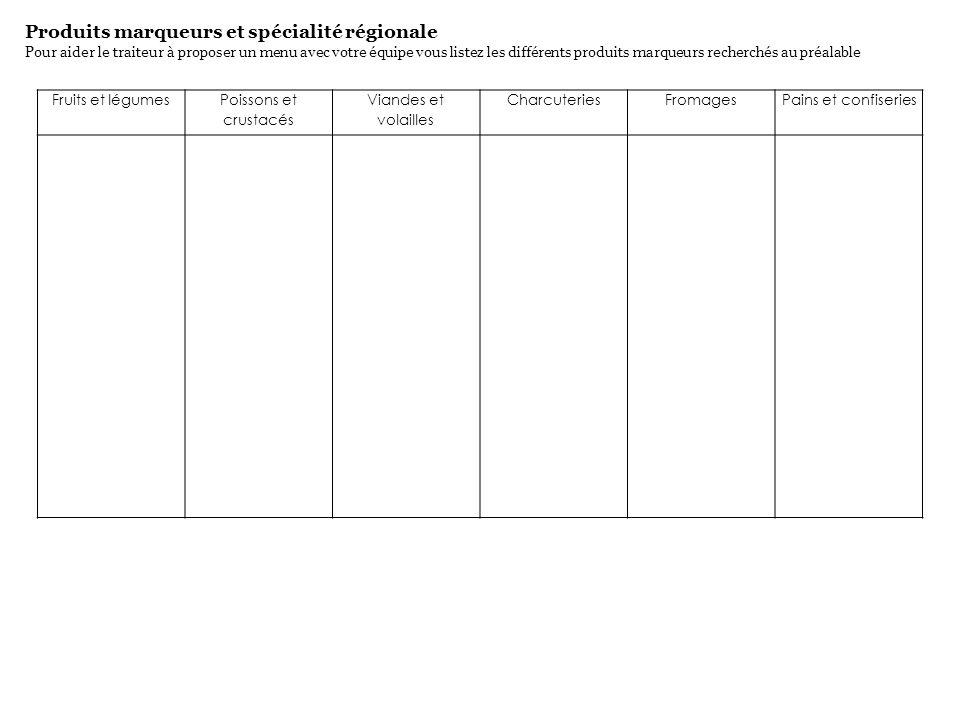 Produits marqueurs et spécialité régionale Pour aider le traiteur à proposer un menu avec votre équipe vous listez les différents produits marqueurs r