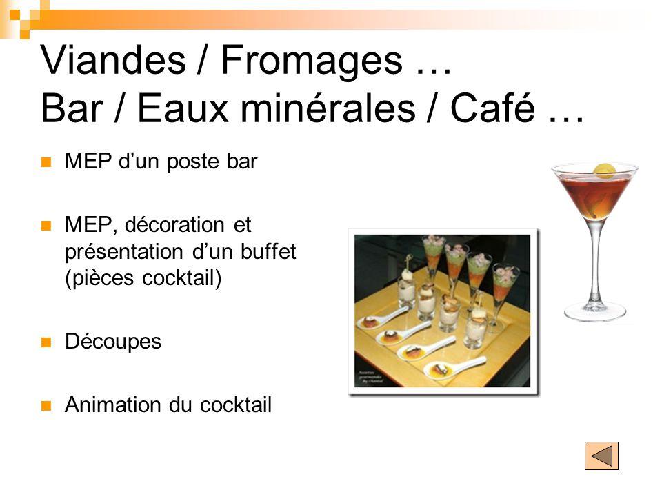 Viandes / Fromages … Bar / Eaux minérales / Café … MEP dun poste bar MEP, décoration et présentation dun buffet (pièces cocktail) Découpes Animation d